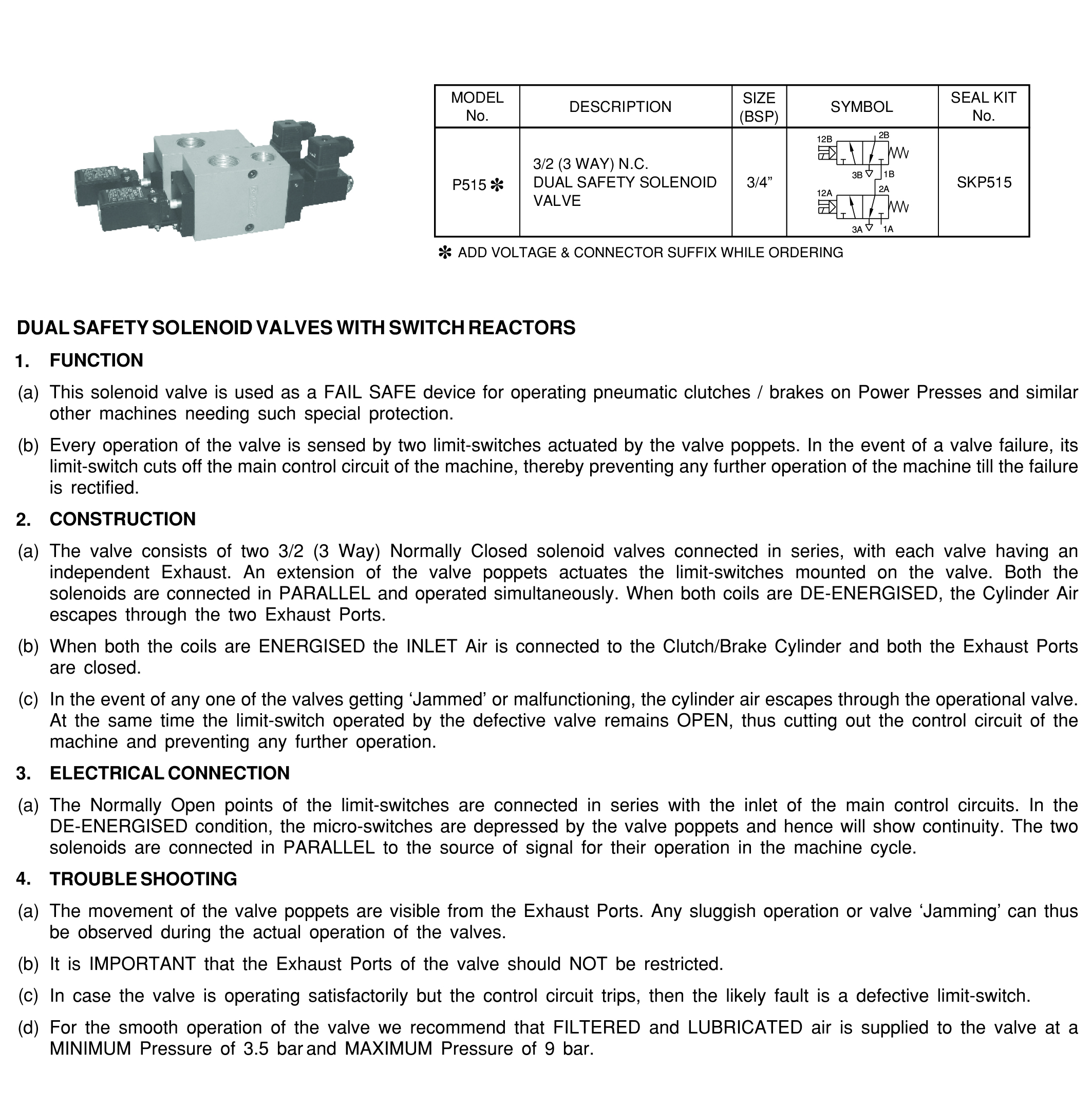 Dual Safety Solenoid Valve For Mechanical Power Press Mercury 3 Way Switch Operation